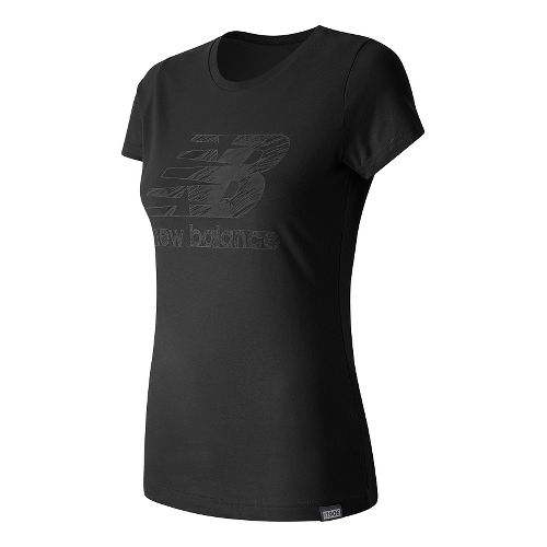 Womens New Balance Sketch Tee Short Sleeve Technical Tops - Black M