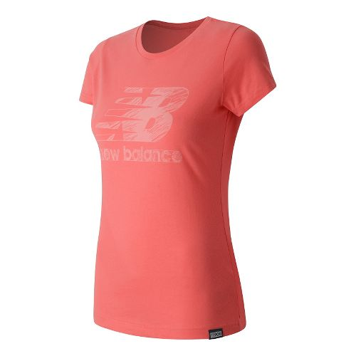 Womens New Balance Sketch Tee Short Sleeve Technical Tops - Guava S