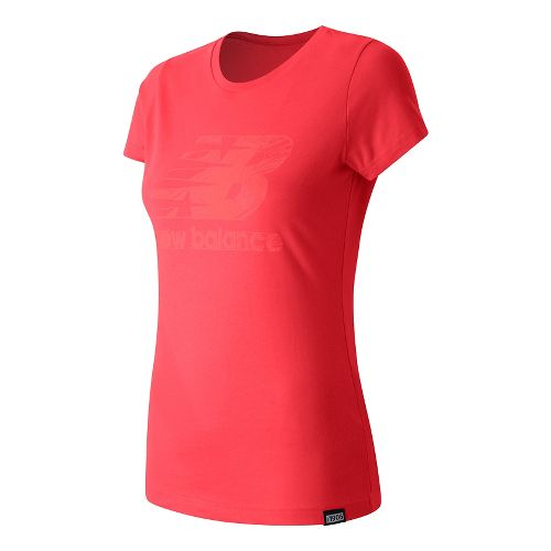 Womens New Balance Sketch Tee Short Sleeve Technical Tops - Blossom S