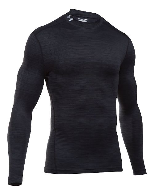 Mens Under Armour ColdGear Armour Twist Mock Long Sleeve Technical Tops - Black/Black S