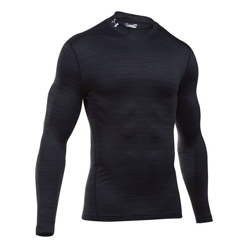 Mens Under Armour ColdGear Armour Twist Mock Long Sleeve Technical Tops - Black/Black L