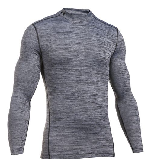 Mens Under Armour ColdGear Armour Twist Mock Long Sleeve Technical Tops - White/Black XL