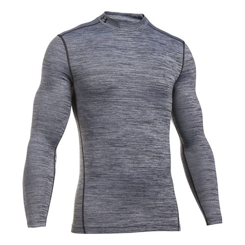 Mens Under Armour ColdGear Armour Twist Mock Long Sleeve Technical Tops - White/Black M
