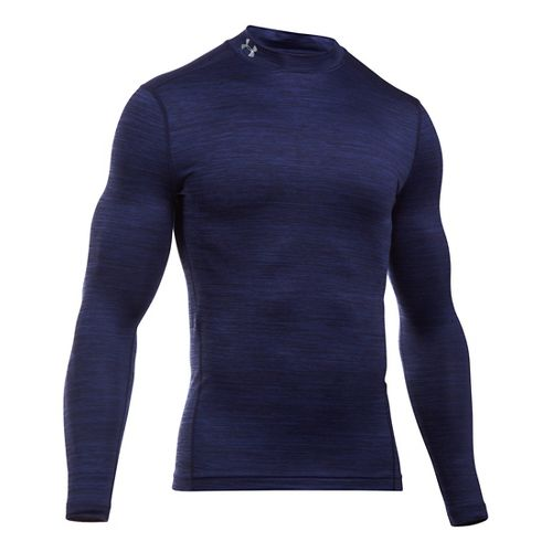 Mens Under Armour ColdGear Armour Twist Mock Long Sleeve Technical Tops - Midnight Navy/Grey L ...