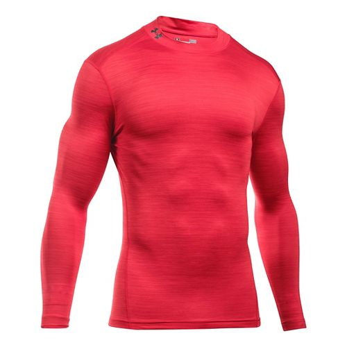 Mens Under Armour ColdGear Armour Twist Mock Long Sleeve Technical Tops - Red/Graphite L