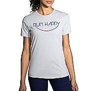 Womens Brooks Run Happy Smile Tee Short Sleeve Technical Tops
