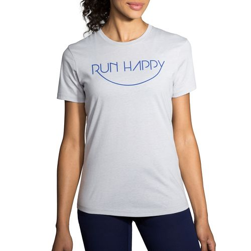 Womens Brooks Run Happy Smile Tee Short Sleeve Technical Tops - Heather Sterling XS