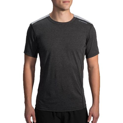 Mens Brooks Distance Short Sleeve Technical Tops - Heather Black/Sterling L