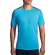 Mens Brooks Distance Short Sleeve Technical Tops - Heather Pool/Ink XS