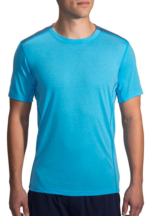 Mens Brooks Distance Short Sleeve Technical Tops - Heather Pool/Ink XL