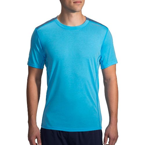 Mens Brooks Distance Short Sleeve Technical Tops - Heather Pool/Ink S
