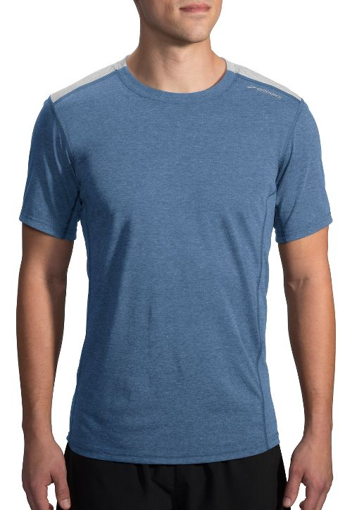 Mens Brooks Distance Short Sleeve Technical Tops - Heather Ink/Sterling M