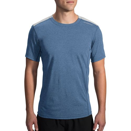 Mens Brooks Distance Short Sleeve Technical Tops - Heather Ink/Sterling S
