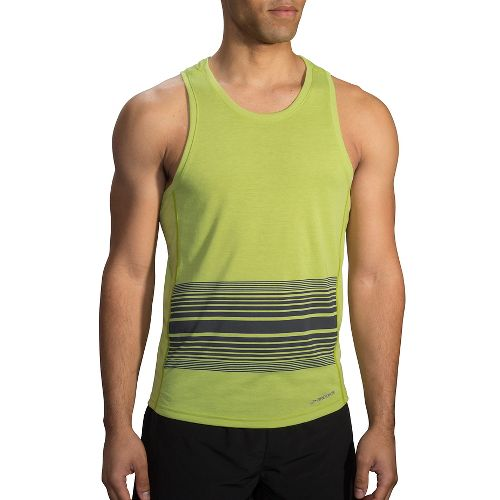 Mens Brooks Distance Printed Tank Sleeveless & Tank Technical Tops - Heather Grove XS