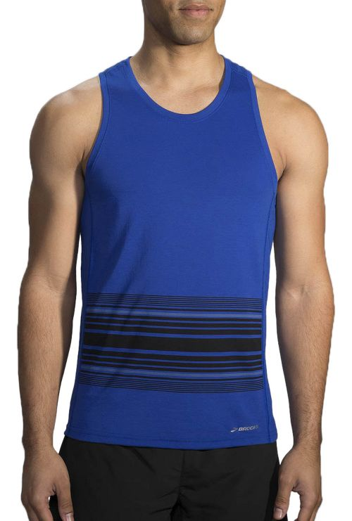 Mens Brooks Distance Printed Tank Sleeveless & Tank Technical Tops - Heather Cobalt/Black XL