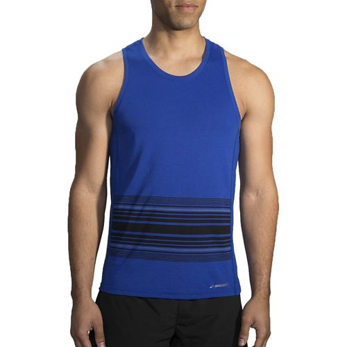 Mens Brooks Distance Printed Tank Sleeveless & Tank Technical Tops - Heather Cobalt/Black L