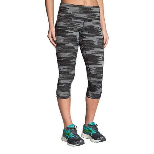 Womens Brooks Greenlight Printed Capri Tights - Black Ikat Jacquard M