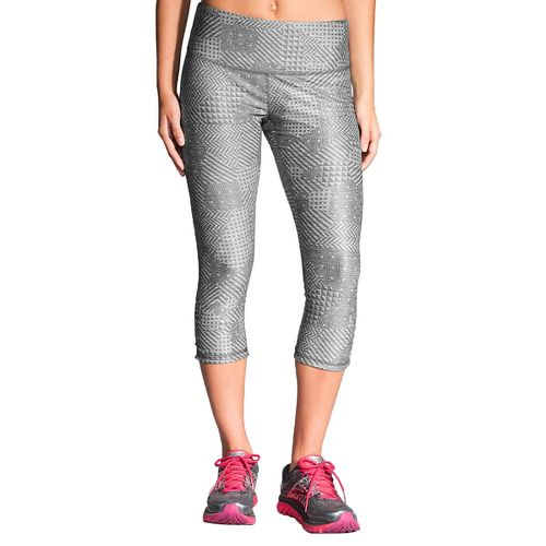 Womens Brooks Greenlight Printed Capri Tights - Wave Cosmo S