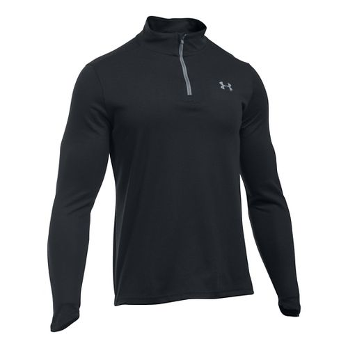 Mens Under Armour ColdGear Infrared 1/4 Zip Long Sleeve Technical Tops - Black/Steel MR