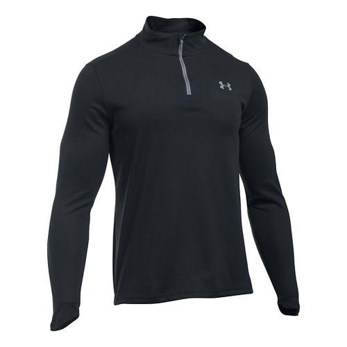 Mens Under Armour ColdGear Infrared 1/4 Zip Long Sleeve Technical Tops - Black/Steel XLR