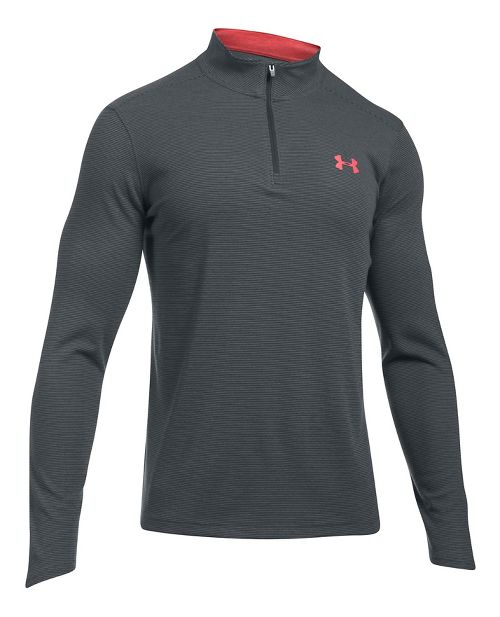 Mens Under Armour ColdGear Infrared 1/4 Zip Long Sleeve Technical Tops - Anthracite/Red L