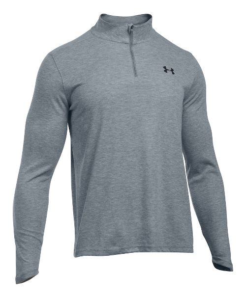Mens Under Armour ColdGear Infrared 1/4 Zip Long Sleeve Technical Tops - Grey Heather/Black 3XL