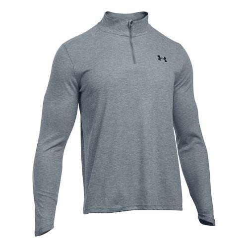 Mens Under Armour ColdGear Infrared 1/4 Zip Long Sleeve Technical Tops - Grey Heather/Black XLR ...