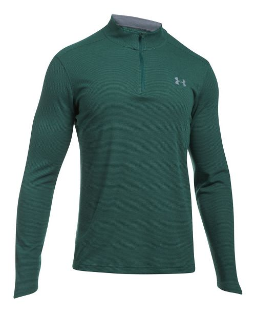Mens Under Armour ColdGear Infrared 1/4 Zip Long Sleeve Technical Tops - Raisin Red/Grey L