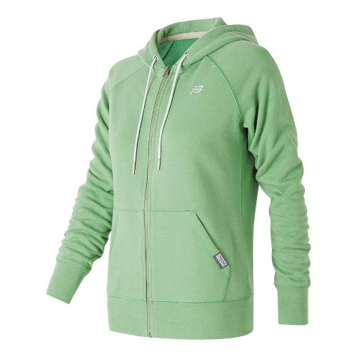 Womens New Balance Classic Full Zip Hoodie Casual Jackets - Vivid Jade L