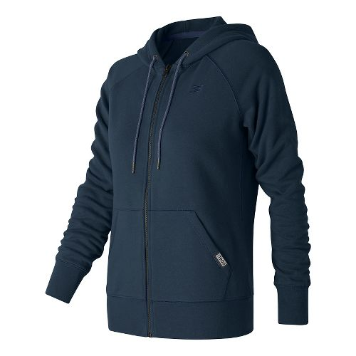 Womens New Balance Classic Full Zip Hoodie Casual Jackets - Navy L