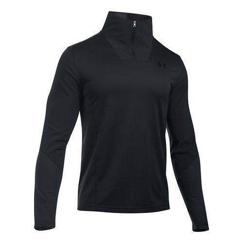 Mens Under Armour ColdGear Infrared Raid 1/4 Zip Long Sleeve Technical Tops - Black/Black XLR