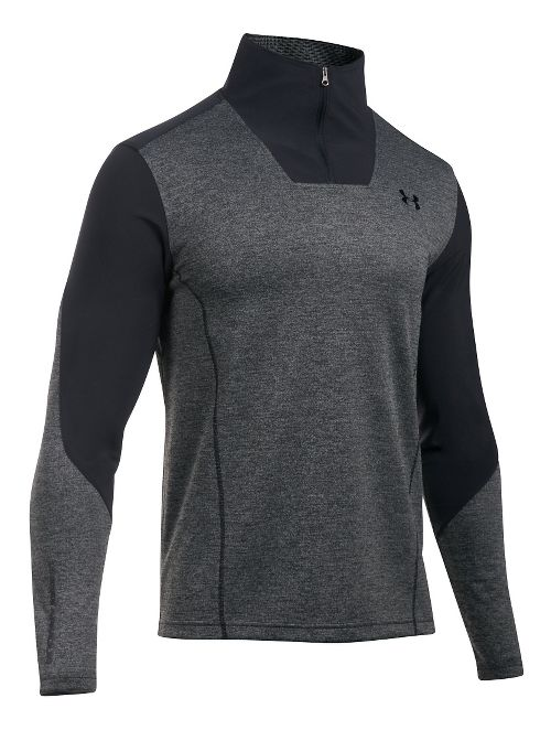 Mens Under Armour ColdGear Infrared Raid 1/4 Zip Long Sleeve Technical Tops - Steel/Black LR