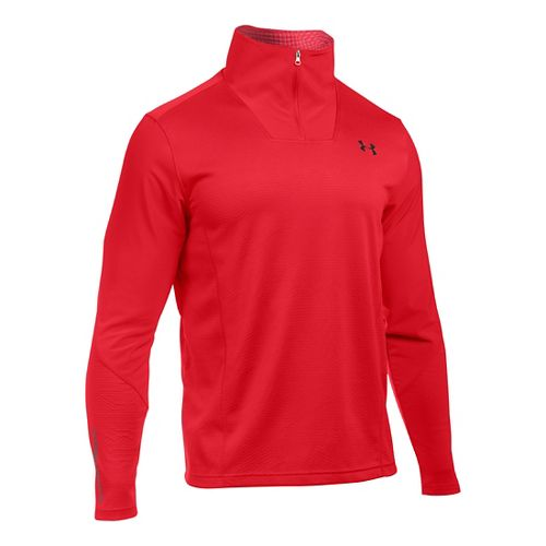 Mens Under Armour ColdGear Infrared Raid 1/4 Zip Long Sleeve Technical Tops - Red/Graphite 3XLR ...