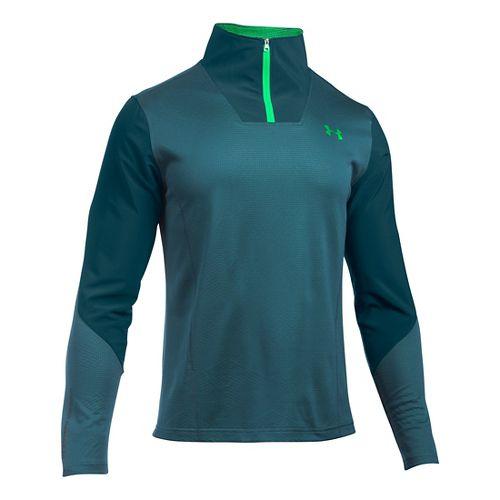 Mens Under Armour ColdGear Infrared Raid 1/4 Zip Long Sleeve Technical Tops - Nova Teal/Green MR