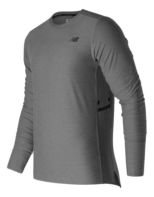 Mens New Balance N Transit Long Sleeve Technical Tops - Athletic Grey M
