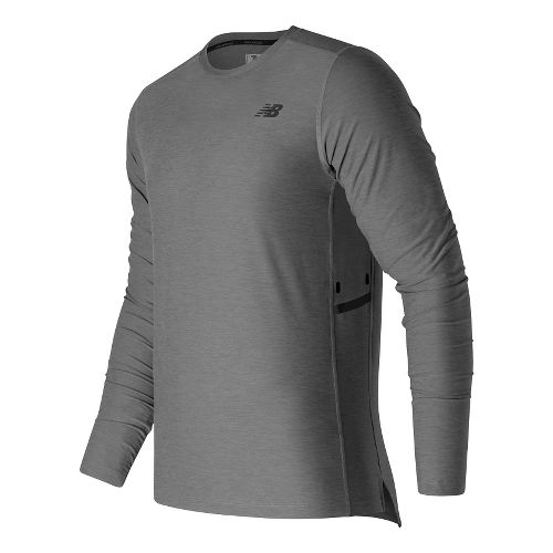 Mens New Balance N Transit Long Sleeve Technical Tops - Athletic Grey S