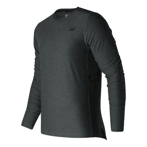 Mens New Balance N Transit Long Sleeve Technical Tops - Heather Charcoal L
