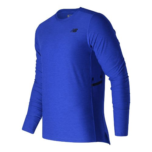 Mens New Balance N Transit Long Sleeve Technical Tops - Marine Heather M