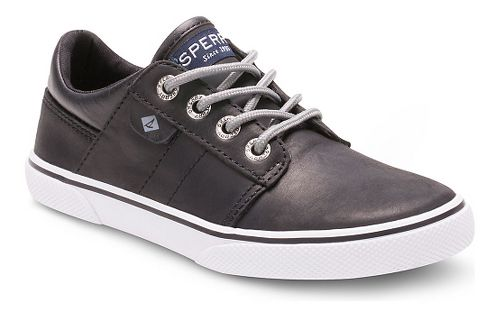 Kids Sperry Ollie Leather Casual Shoe - Black 3.5Y