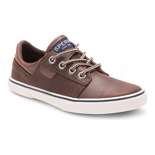 Kids Sperry Ollie Leather Casual Shoe - Brown 4Y