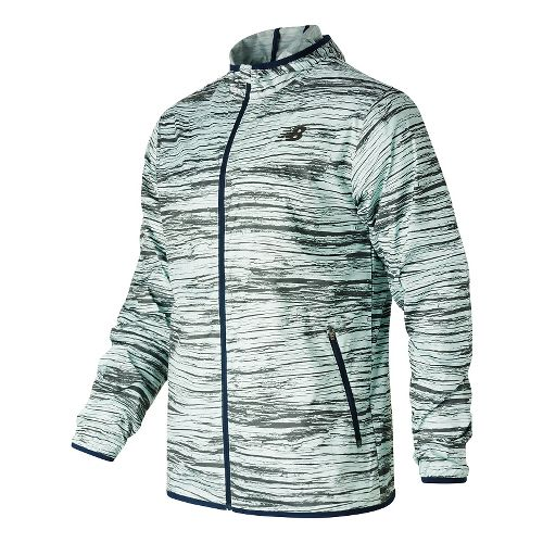 Mens New Balance Windcheater Rain Jackets - Woodprint L
