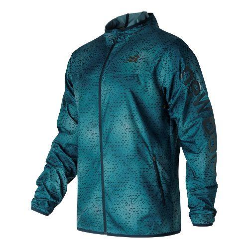 Mens New Balance Windcheater Rain Jackets - Riptide Print XL