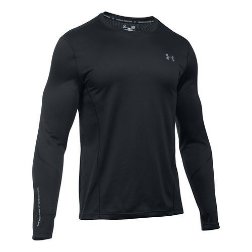 Mens Under Armour ColdGear Infrared Raid Fitted Long Sleeve Technical Tops - Black/Steel L