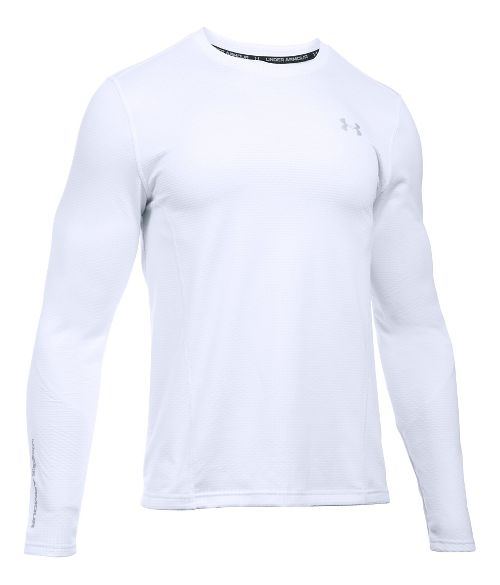 Mens Under Armour ColdGear Infrared Raid Fitted Long Sleeve Technical Tops - White/Steel S