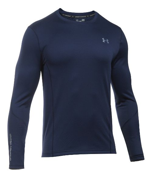 Mens Under Armour ColdGear Infrared Raid Fitted Long Sleeve Technical Tops - Midnight Navy/Grey 3XL