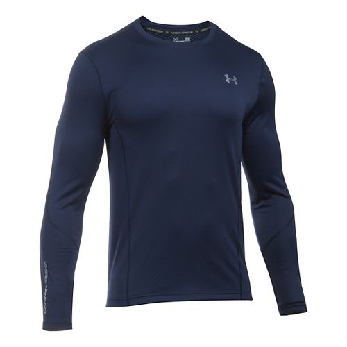 Mens Under Armour ColdGear Infrared Raid Fitted Long Sleeve Technical Tops - Midnight Navy/Grey ...