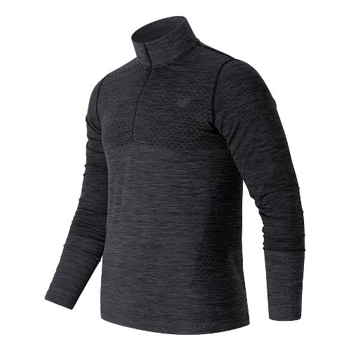 Mens New Balance M4M Seamless Quarter Zip Long Sleeve Technical Tops - Black Heather S ...