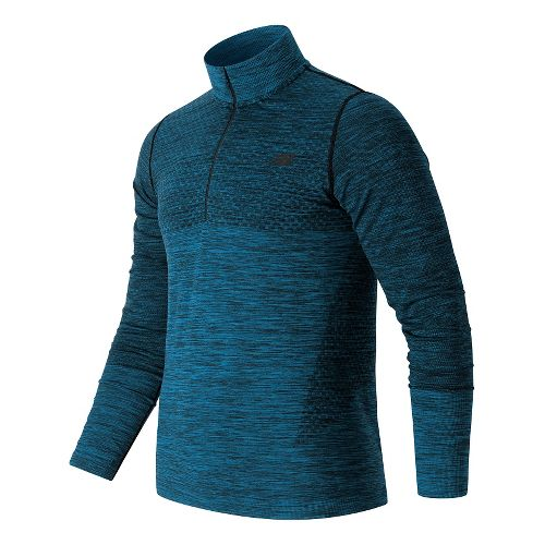 Mens New Balance M4M Seamless Quarter Zip Long Sleeve Technical Tops - Barracuda Heather M ...