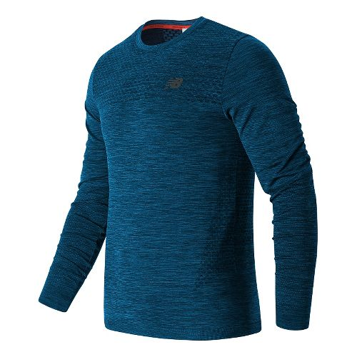 Mens New Balance M4M Seamless Long Sleeve Technical Tops - Barracuda M