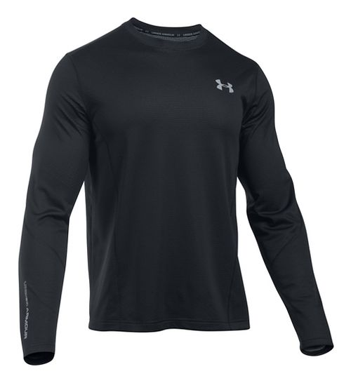 Mens Under Armour ColdGear Infrared Raid T Long Sleeve Technical Tops - Black/Steel LR